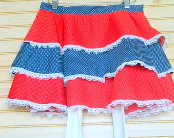 Ready to Ship 4th of July Frills Half Apron