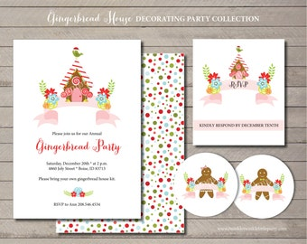 Christmas Holiday Season Gingerbread House Decorating Party Printable Invitation Suite