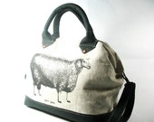 Linen and Leather Handmade Cross Body Purse with Sheep, Mason Bag Knitting Project Tote