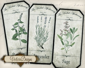 Shabby Herbal Apothecary Bottle Labels Jar Labels Tags instant download printable images digital collage sheet VD0789