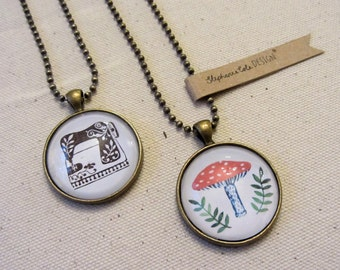 SALE Illustrated Necklace: Forest Toadstool or Sewing Machine