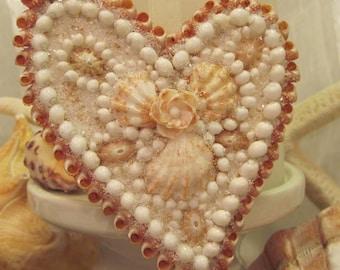 Peaches and Cream Seashell Heart Ornament