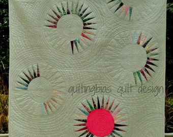Pink Sun Rising Quilt Pattern by Quilting Bias Quilt Designs - Printed Version