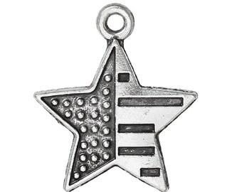 10 Silver Metal PATRIOTIC STAR Flag Charm Pendants chs0515