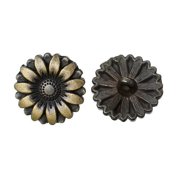 6 bronze metal flower shank buttons for jewelry making for Buttons with shanks for jewelry