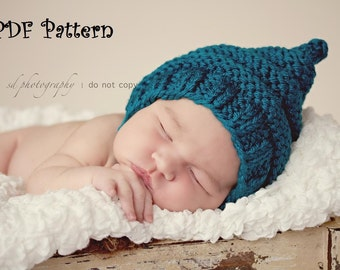 Purly Ridge Pixie Hat with Chinstrap PDF Pattern