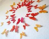 3D Fire Morphos Wall Butterflies- Set of 30