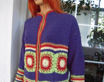 SALE jacket handmade crochet ethnic kimono,granny  kimono multicolor folk bolero S/M/L sze gift idea for her by golden yarn