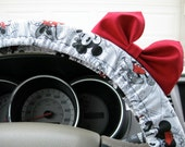 Steering Wheel Cover Bow, Vintage Mickey Inspired Steering Wheel Cover with Bright Red Bow BF11048