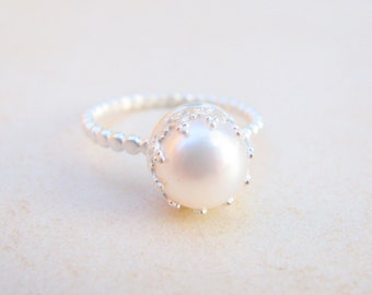 pearl ring engagement ring silver ring pearl wedding ring bridal weddings - Pearl Wedding Ring