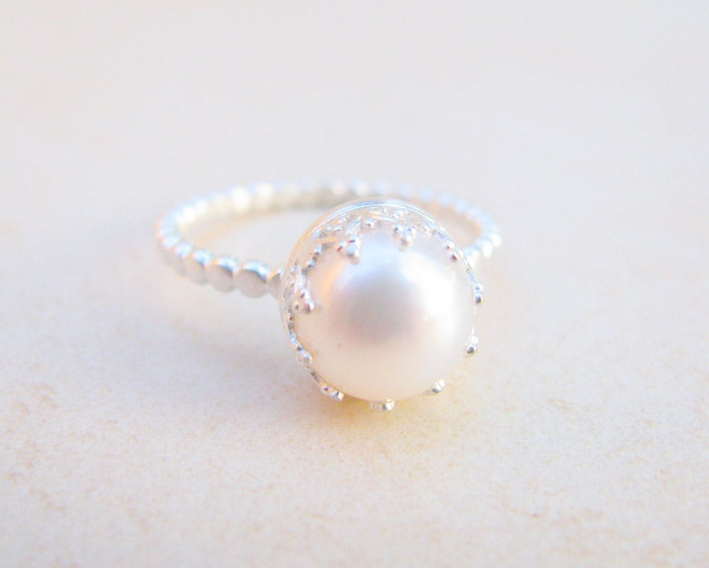 Pearl ring engagement ring silver ring pearl wedding ring for Pearl engagement ring with wedding band