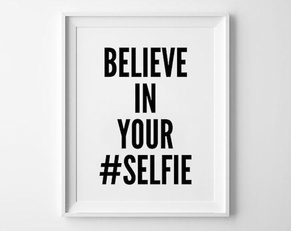 Selfie Poster, typografie kunst, wand decor, motto