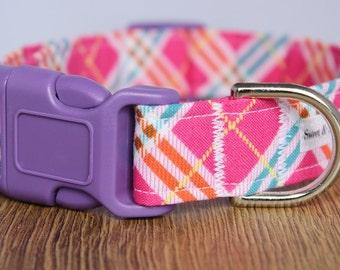 Pink Plaidness Dog Collar
