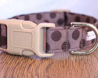 Brown Polka Dot Dog Collar - Boy Dog Collar - Brown Dog Collar - Neutral Dog Collar - Girl Dog Collar