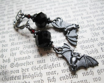 Gothic Bat Earrings in Black Plate with Czech Glass. Victorian Halloween Inspired.