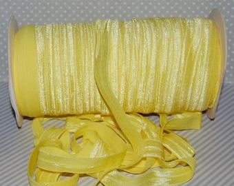 "Lemon Yellow FOE #728 Fold Over Elastic Shiny Solid FOE- 5 yards 5/8"" inch Headbands Hair Ties Satin Elastic Soft Elastic"