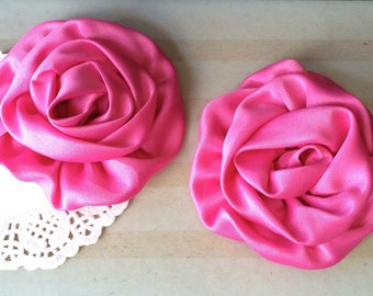 "Fushia Pink Satin Rolled Rose Flowers Rosettes - Set of Two 3"" Fabric Flowers Applique Satin rose ruffles wholesale flower supplies wedding"