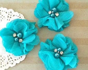 "Aqua Mini Chiffon Flowers with rhinestones & pearl centers - Small  2"" Whitney shabby chiffon layered flowers wholesale flowers"