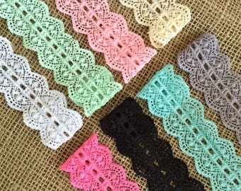 """Lace Elastic 1.5"""" inch- You pick colors - Lace Stretch Elastic trim baby headband lace elastic wedding garter lingerie lace 3, 5 or 10 yards"""