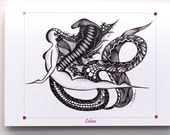 YOGA ART Greeting Card COBRA Pose - 5x7 from Original Ink Drawing, Home Decor, Yoga Studio Decor