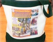 Photo Tote Bag - two tone with zipper & one Photo Collage Panels - with up to 8 blended photos