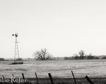 Windmill Photo, prairie landscape, rural photography