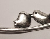 CLEARANCE Antique silver birds kissing in branch charm
