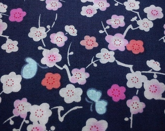 SALE - Butterfly and Japan Cherry, blue, 1/2 yard, pure cotton fabric