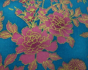 Bright pink peony, turquoise, gold metallic, fat quarter, pure cotton fabric