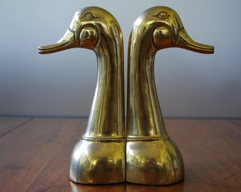 Vintage Pair of Large Brass Duck Head Bookends - Woodland