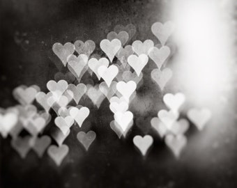 "Black and White Heart Photograph - love bokeh print, dark grey artwork, large gray wall photography, sparkle lights, ""Whispers of the Heart"""