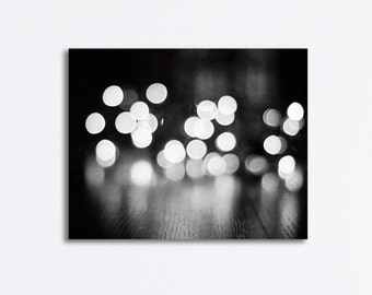 """Sparkle Black and White Canvas - abstract lights wall art dark grey circles print sparkly photography gallery wrap, """"Illuminating the Night"""""""