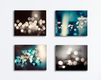 Sparkle Lights Canvas Set - bokeh dark teal black brown cream four abstract photography gallery wraps, aqua turquoise sparkly wall art beige