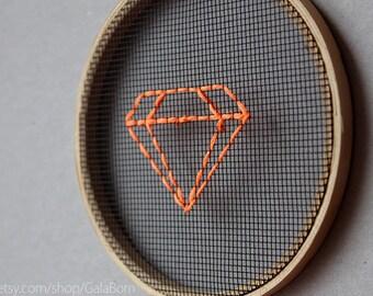 "Wall decor - Neon orange diamond - Embroidery in wooden hoop 5"" - Minimalist - Geometric - Modern home - Geometric wall decor - Wall art"