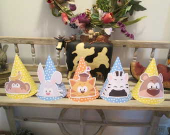 Peek-a-Boo Animals Party Hats Set of 10