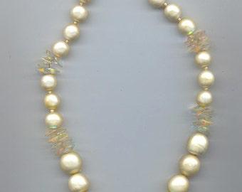 Lovely vintage Vendome necklace - faux glass pearls and vintage Swarovski rivoli crystals AB