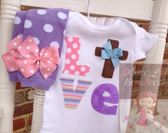 Easter Outfit for baby girls -- For God So Loved The World -- Leg warmers and bodysuit -- pretty pastels LOVE with Christian cross