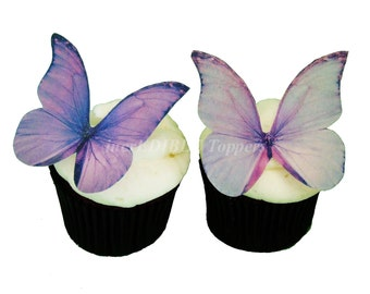 Edible CAKE TOPPERS - Edible Butterfly Cake Decorations - 12 Purple and Lavender - Cupcake Butterflies, Cupcake Decorations
