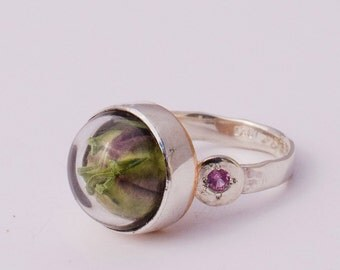 Love in a mist pod ring with pink tourmaline size: 8.75
