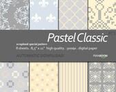 "Digital Paper +Pastel Classic + Scrapbook Quality Paper Pack  (8.5x11""- 300 dpi)   8 sheet pack paper  PC1 + Instant Download +"