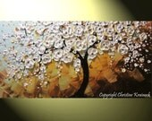 "CUSTOM Art Abstract Painting White Cherry Tree Painting Blossoms Flowers Textured Palette Knife Blue Brown Gold MADE to ORDER 48"" -Christine"