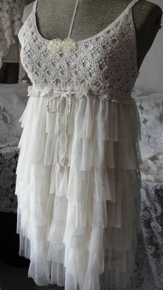 shabby chic romantic lace crochet dress. Black Bedroom Furniture Sets. Home Design Ideas