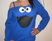Womens Custom Altered Scoop Slouchy Tunic Sesame Street Cookie Monster Fleece Sweater Pullover Sweatshirt - Sizes S M L XL =