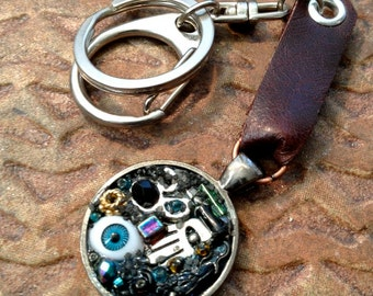 Evil Eye Keychain, Leather and Metal,Steampunk Rocker Style