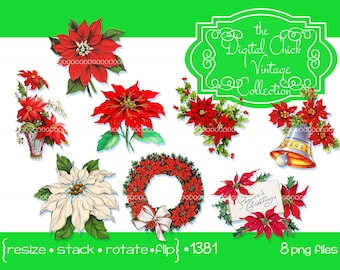 Digital Clipart, instant download, Vintage Christmas Card Images--poinsettia Christmas flower pine holly wreath bouquet bell--PNG Files 1381