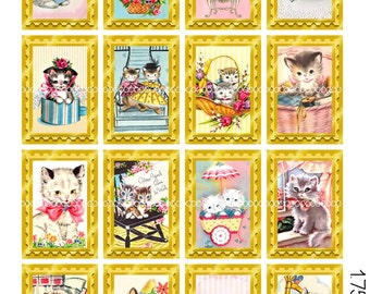 Digital Clipart, instant download, Vintage Kitten Get Well Card Images kitty cat kitten gift flowers--8.5 by 11--Digital Collage Sheet  1861