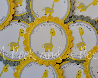 Yellow Gray Giraffe Personalized Favor Tags or Stickers for Baby Showers and Birthday Parties