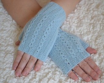 Cashmere gloves,hand-knitted blue cashmere fingerless women's gloves, cashmere arm warmers
