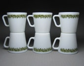 set of 6 PYREX white glass mugs with the SPRING BLOSSOM pattern