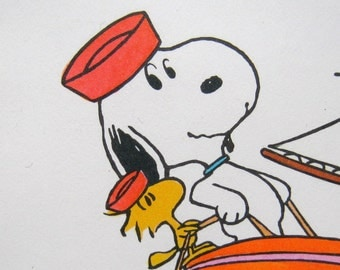 set of 10 SNOOPY note cards hallmark in box shultz peanuts woodstock , boating theme